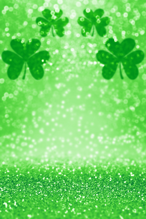 Abstract green glitter sparkle confetti background for party invite, St Patricks Day luck, lucky Saint Paddys Irish texture, happy Pattys, Celtic shamrock pattern, Spring sale or celebration poster Stock Photo