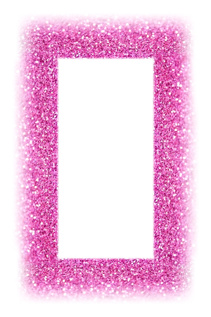 Fancy pink glitter sparkle confetti background for happy birthday party invite, picture frame, princess girl border, baby shower sequin photo, girly kid photoframe or wedding poster isolated on white 版權商用圖片 - 98428752