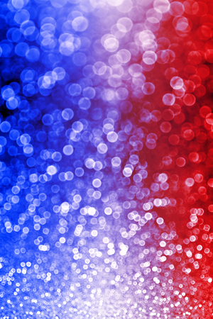 Abstract patriotic red white and blue glitter sparkle background for party invite, July firework burst, memorial lights, elect president vote, sale texture, labor day and celebrate independence banner