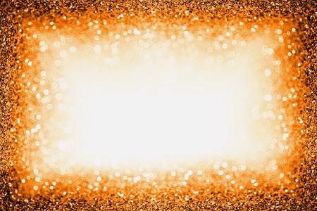 Elegant dark orange black glitter sparkle confetti background for happy birthday invite, Autumn Fall Thanksgiving frame, spooky Halloween party, sale border ad or October kid trick or treat night 版權商用圖片