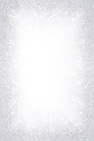 Elegante fondo de confeti de brillo blanco plateado para invitación de fiesta de feliz cumpleaños gris, borde de escarcha de hielo de Navidad, nieve helada de invierno helado, joyas de diamantes brillantes o marco de 25 aniversario de boda