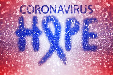 Abstract hope ribbon background for novel coronavirus outbreak, covid 19 corona virus pandemic treatment cure, ncov 2019 vaccine prevention and health recovery