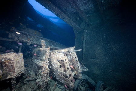 Lysander aircraft wings in hold 2 of the SS Thistlegorm. photo