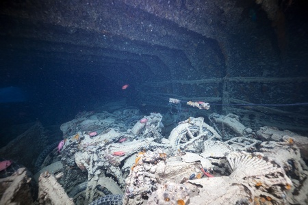 BSA WDM 20 motorcycles in hold 1 of the SS Thistlegorm. photo