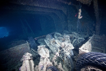 Cargo in hold 1 of the SS Thistlegorm. photo
