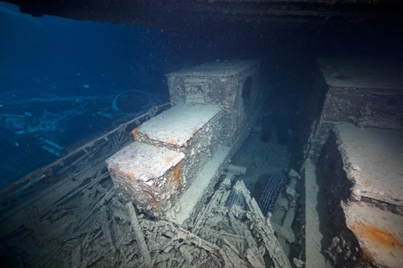 Armoured cars on in hold 1 of the SS Thistlegorm. photo