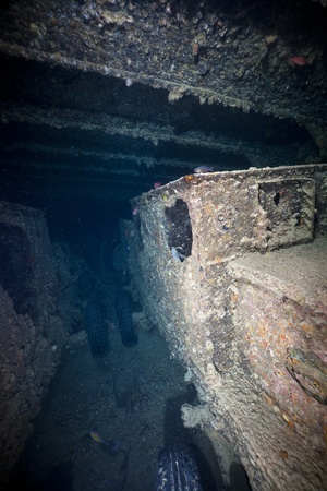 Armoured cars chassis in hold 1 of the SS Thistlegorm. photo