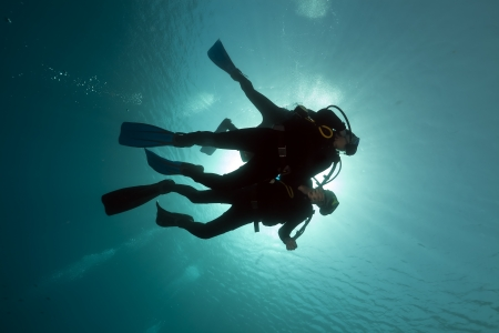 divers: Scuba divers in the Red Sea Stock Photo