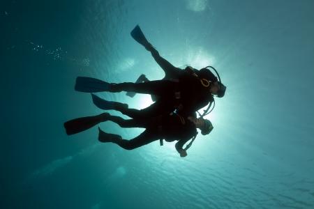 marine scenes: Scuba divers in the Red Sea Stock Photo