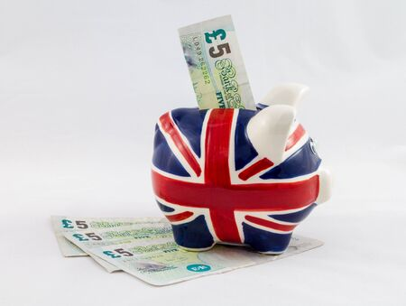 British Piggy Bank with Notes photo