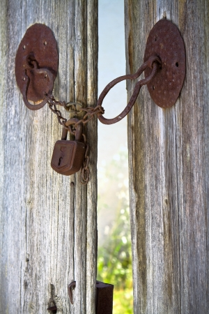 locked: Hidden paradise behind locked gate Stock Photo
