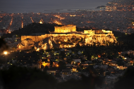 Acropolis of Athens at night, Greece photo