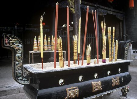Incense in a temple in Pingyao,China photo