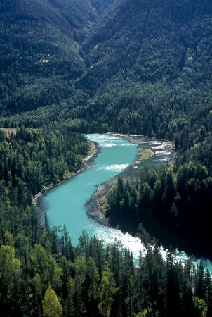 Kanas River in Xinjiang province,China Stock Photo