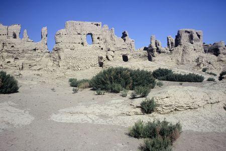 Gaochang Ruins near turpan in the Xinjiang Province,China Stock Photo