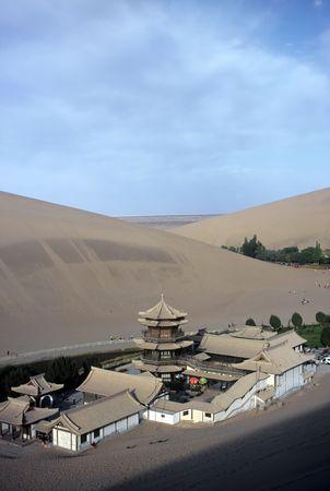 Dunes and Temple,Dunhuang,Gansu,China photo