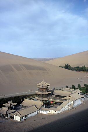 Dunes and Temple,Dunhuang,Gansu,China