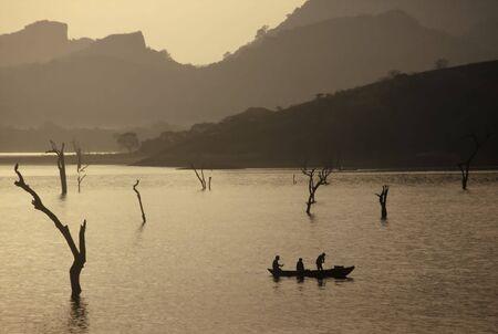 Sunrise over a Lake near Dambulla,Sri Lanka photo