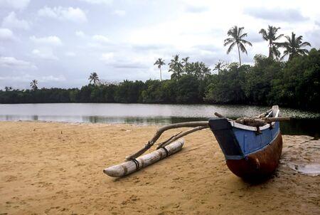 Boat at the Lagoon of Tangalla,Sri Lanka Stock Photo