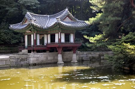 Water Pavilion in the secret garden in Seoul Stock Photo