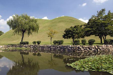 Lake in Tumuli Park in Gyeongju, South Korea Stock Photo