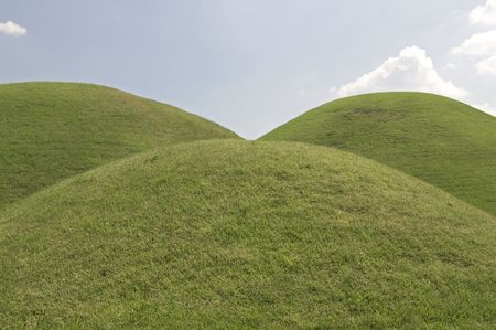 Three Grassy hills in Tumuli Park in South korea