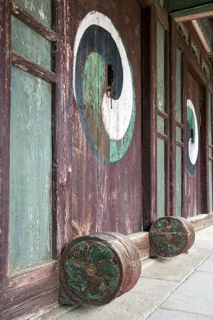 Doors in a confucian academy in South korea Stock Photo - 5860097