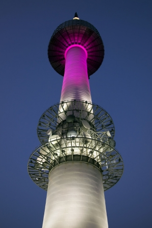 Illuminated Seoul Tower at night in South Korea photo