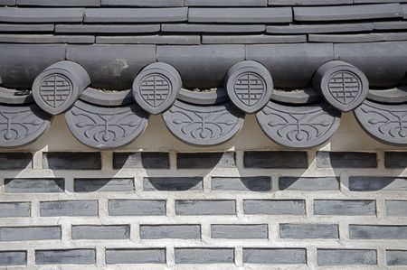 Detail of a restored traditional wall, South Korea