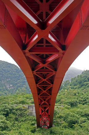 Under a red red bridge in Taroko national Park, Taiwan Stock Photo