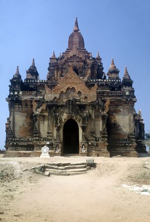 Red Stone Temple in the Bagan Area, Myanmar Stock Photo
