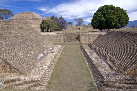 Ball court in Monte Alban, Mexico