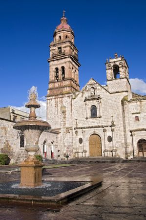 Church and fountain in Morelia, Mexico