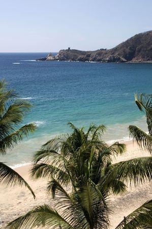 View over the Mazunte beach in Mexico Stock Photo