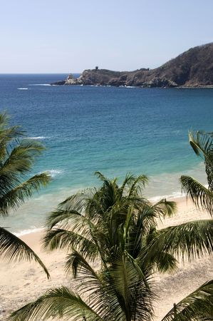 View over the Mazunte beach in Mexico Stock Photo