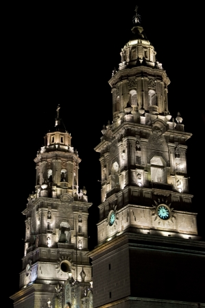 Detail of an illuminated church in Morelia, Mexico Stock Photo