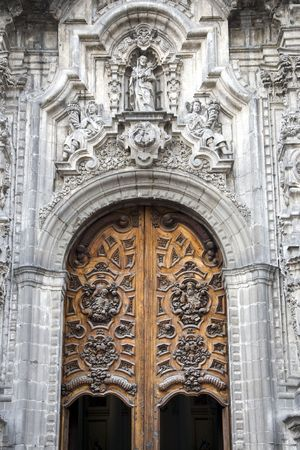 Detail of the entrance of the main Church in Mexico City, Mexico