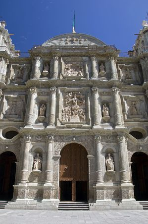Entrance to a baroque church in Oaxaca, Mexico Stock Photo