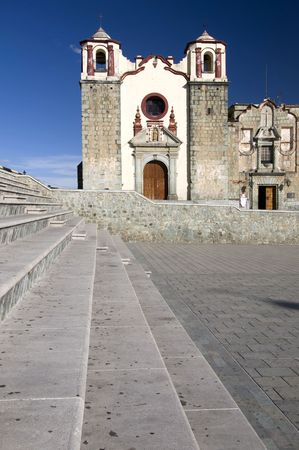 Stairs with a church in the background in Oaxaca, Mexico Stock Photo