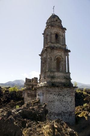 Church damaged by lava flow near Uruapan, Mexico