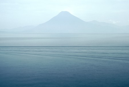 Atitlan Lake with a vulcan in the background, Guatamala