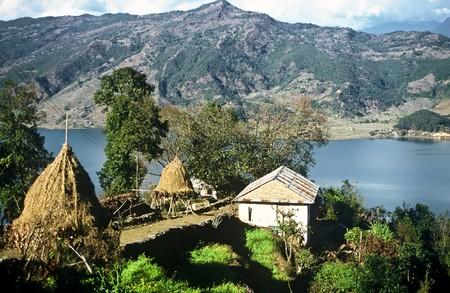 Small Farm over lake Pokhara, Nepal photo