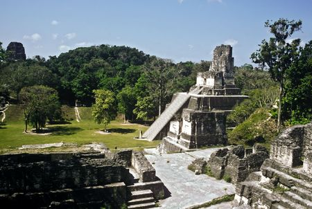 Pyramid in the temple complex of Tikal, Guatemala Stock Photo