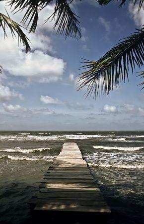 Boardwalk on the caribbean coast of Guatemala Stock Photo - 7085621