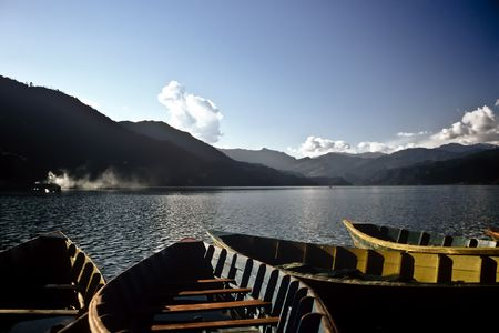 Boats on the Pokhara lake in Nepal