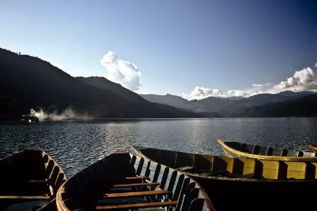 Boats on the Pokhara lake in Nepal Stock Photo - 7140988