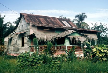 Damaged wooden house on the caribbean coast, Costa Rica