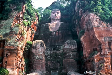Biggest Buddha in the World in Leshan, Sichuan, China Stock Photo