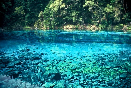 Blue lake in the Jiuzhaigou National Park, China