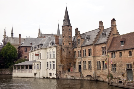 Canal with historic houses in Brugge, Belgium Stock Photo